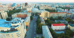 Aerial view theater Opera and Ballet Novosibirsk Stock Footage