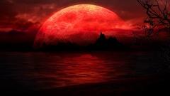 Beach Island Silhouette in Red Large Moon 4K Loop Stock Footage