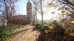 Hermitage, chapel or church.Village and nature landscape Stock Footage