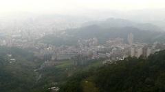 View Through Windows Of Ropeway Cabin Taipei Stock Footage