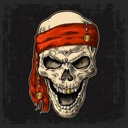 Skull pirate in bandana smiling. Black vintage engraving vector Stock Illustration