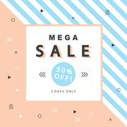Mega Sale banner with geometric shapes in scandinavian trendy style Stock Illustration