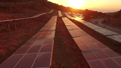 Solar Park AERIAL in the sunset. Stock Footage