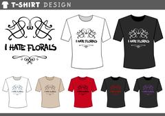 T shirt design with floral Stock Illustration