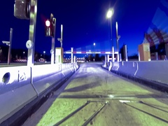 Fast driving at dusk.Vehicle shot Stock Footage