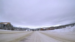 POV point of view - Driving through Winter Park in the winter. Stock Footage