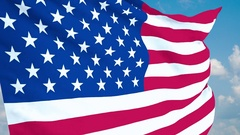 United State of America Flag waving. 3d render. Seamless Loop Stock Footage