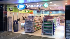 Pharmacy at the Don Mueang International Airport, Bangkok Stock Footage