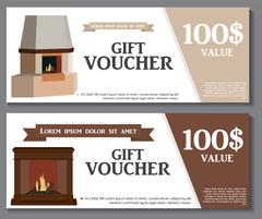 Gift Voucher Template with variation of fireplaces, stoves Disco Stock Illustration