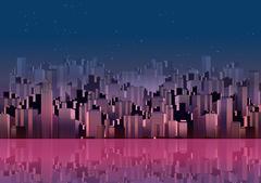 Modern City Skyline Landscape with Skyscraper Offices - Vector Illustration Stock Illustration