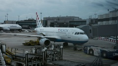 Timelapse of airplane before the flight in Frankfurt airport Stock Footage