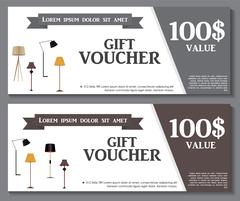 Gift Voucher Template with variation of Lamp Discount Coupon. Ve Stock Illustration