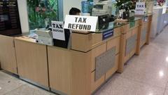 Tax refund office in Hochiminh City international airport, Vietnam Stock Footage