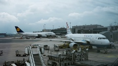 Timelapse of servicing airplanes in Frankfurt airport Stock Footage