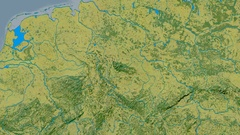 Zoom into Harz mountain range - masks. Topographic map Stock Footage