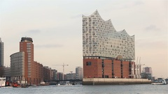 Elbphilharmonie in hamburg, germany filmed from a boat on elbe river 2016 Stock Footage