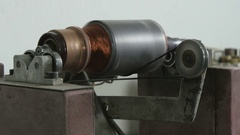 Close up shot of repaired rotor on the balance measuring equipment by Sheyno. Stock Footage