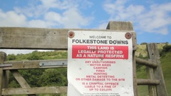 Folkestone Downs sign, Kent, England Stock Footage