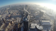 Aerial view of the winter in Kiev, 4K raw Stock Footage