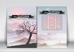 Abstract Flyer Brochure Design Template of Spring Season with Abstract Tree.. Stock Illustration
