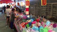 Flea market near the Don Mueang International airport, Bangkok Stock Footage