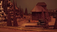 WARSAW, POLAND - DECEMBER, 18, 2016. Toy chocolate railroad and train as a Stock Footage