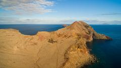 View from Ponta do Furado - Cais di Sardinha, Baia d'Abra - hiking trail at the Stock Photos