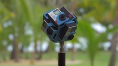 Shooting 360 degrees video of nature using six GoPro cameras Stock Footage