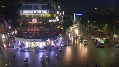 Traffic, Hoan Kiem Lake, Old Quarter, Hanoi, Vietnam, Asia Stock Footage