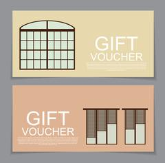 Gift Voucher Template with variation of Windows Discount Coupon Stock Illustration