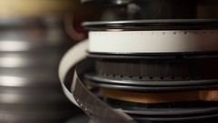 Close up of a stack of vintage film movie reels Stock Footage