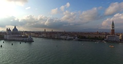 Venezia, Venice panoramic dinamic view at sunset, Giudecca Canal UHD, 4K Stock Footage