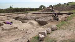 Archaeological dig Folkestone, Kent, England Stock Footage