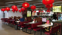 Restaurant with Chinese red lanterns in Don Mueang Airport, Bangkok Stock Footage