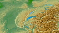 Revolution around Jura mountain range - glowed. Colored physical map Stock Footage