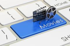 Movies concept on blue keyboard button, 3D rendering Piirros