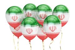 Balloons with flag of Iran, holiday concept. 3D rendering Stock Illustration