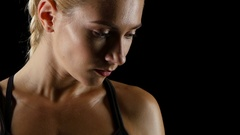 Strong glance girl boxer before a fight. Close up Stock Footage
