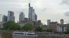 View on the Innenstadt Frankfurt, skyscrapers district with Main Tower Stock Footage