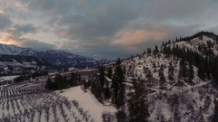 Aerial: Rural Mountain Valley in The Winter Stock Footage