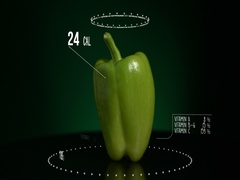 Infographic of Bell Pepper Green with vitamins, microelements minerals. Energy Stock Footage