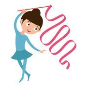 Teenager doing gymnastics dance with ribbon vector Stock Illustration