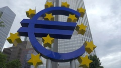 Euro symbol at Eurotower in Frankfurt, Germany Stock Footage