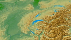 Revolution around Jura mountain range - masks. Colored physical map Stock Footage