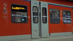Closing automatic doors of subway train in Frankfurt Stock Footage