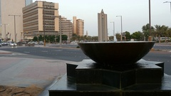 Small arabic marble hemispheric fountain.Mid shot. Stock Footage