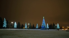 Christmas tree and light decorations in the town square. Stock Footage