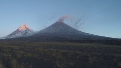 Eruption volcano on Kamchatka Peninsula at sunrise (time lapse) Stock Footage
