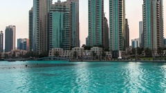 Dubai center. Impressive view. Transition day into night. Stock Footage