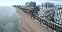 Aerial shot of Fort Lauderdale Beach Stock Footage